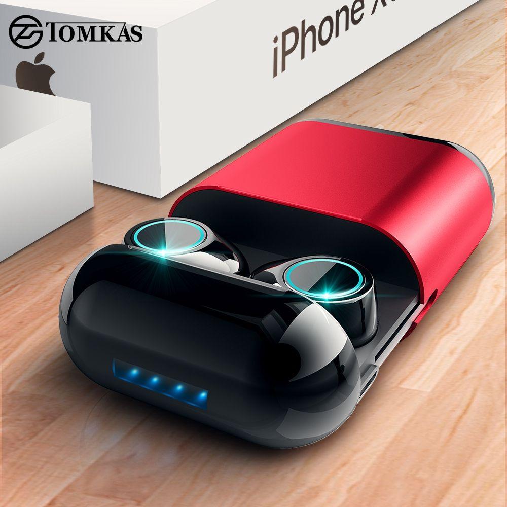 TOMKAS casque Bluetooth TWS écouteurs sans fil Bluetooth écouteurs stéréo casque Bluetooth écouteur avec micro et boîte de charge
