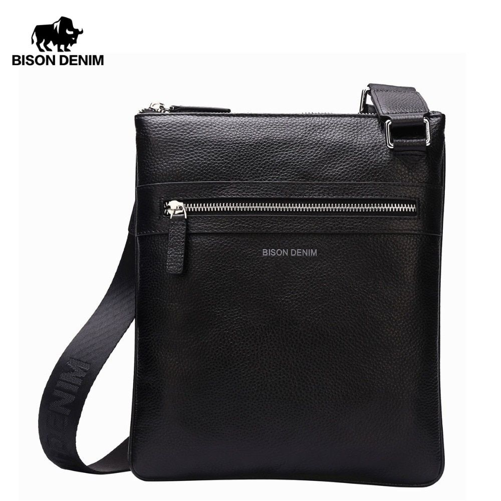 BISON DENIM Brand Genuine Leather Crossbody Bag Men Slim Male Shoulder Bag Business Travel iPad Bag Men Messenger Bags N2424