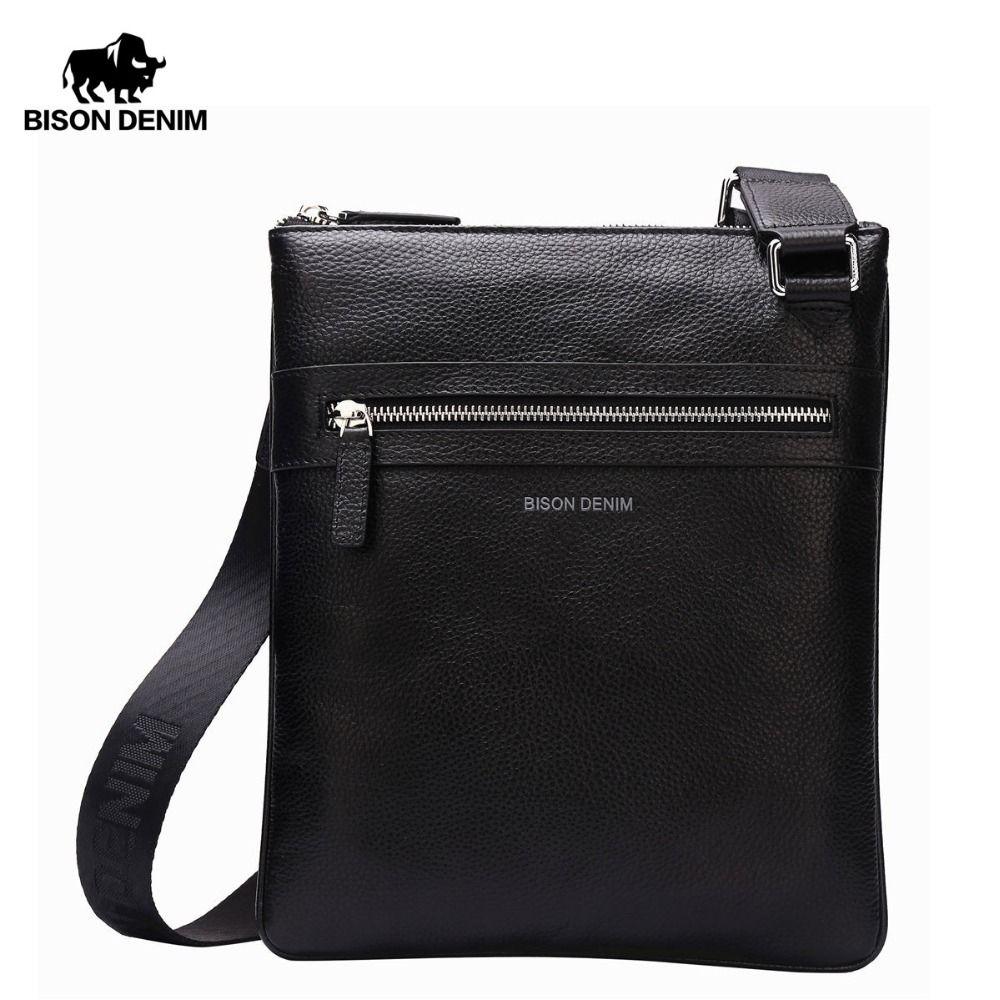 BISON DENIM Brand Genuine Leather Crossbody Bag Men Slim Male Shoulder Bag Business Travel iPad Bag Men Messenger Bags N2424