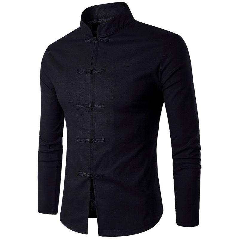 Nouveauté hommes chinois Tradition Style chemise Mans couleur unie col Mandarin chemises à manches longues coton lin décontracté