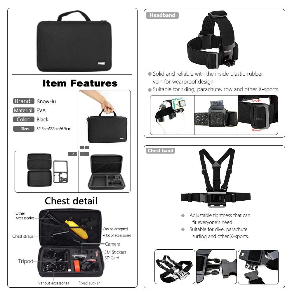 SnowHu For Gopro accessories set mount tripod for go pro hero 6 5 4 3 sjcam sj4000 for Go pro 5 kit for xiaomi yi 4K camera GS52