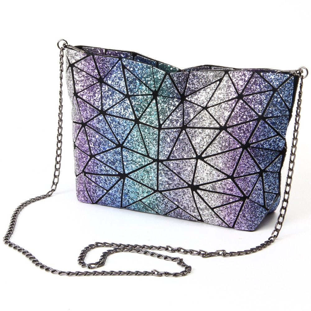 Starry Sky New Fashion Bag Women chain Lightnig <font><b>Luminous</b></font> Geometry Women Shoulder Bags Plain Folding Messenger Bag bolso