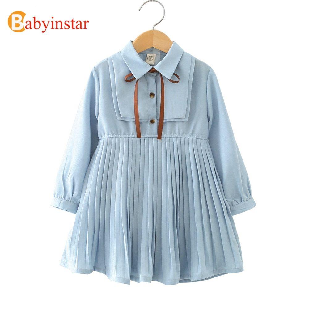 Babyinstar Baby Girl Princess Dress 2018 New Arrival Long Sleeve Pleated Design Toddler Children Clothing Kids Dresses For Girls