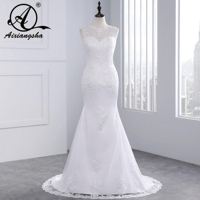 Cheap Beach Lace Mermaid Wedding Dress 2018 Sexy Tulle Backless Romantic Bride Dresses Custom Made Plus Size Vestidos De Novia