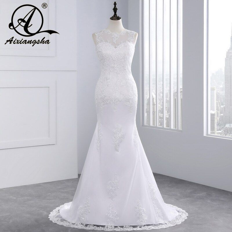Cheap Beach Lace Mermaid Wedding Dress 2018 Sexy Tulle Backless Romantic Bride Dresses Custom Made Plus Size Vestidos De Novia