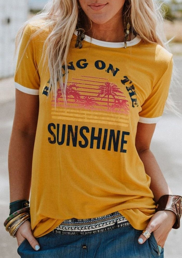 VESSOS jaune 3XL Polyester T-Shirt femme apportez sur le soleil lettre imprimé T-Shirt à manches courtes t-shirt sans manches femme