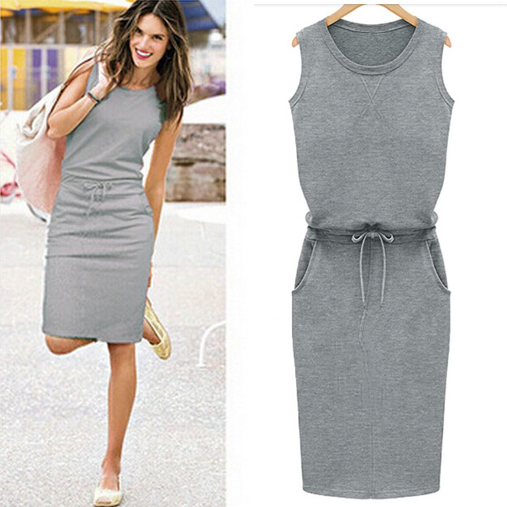 Cotton Linen Dress 2018 Summer Fashion Women Sleeveless Slim With Belt O-neck Dress Gray Black Rose 3 Colors M-XL Large Size