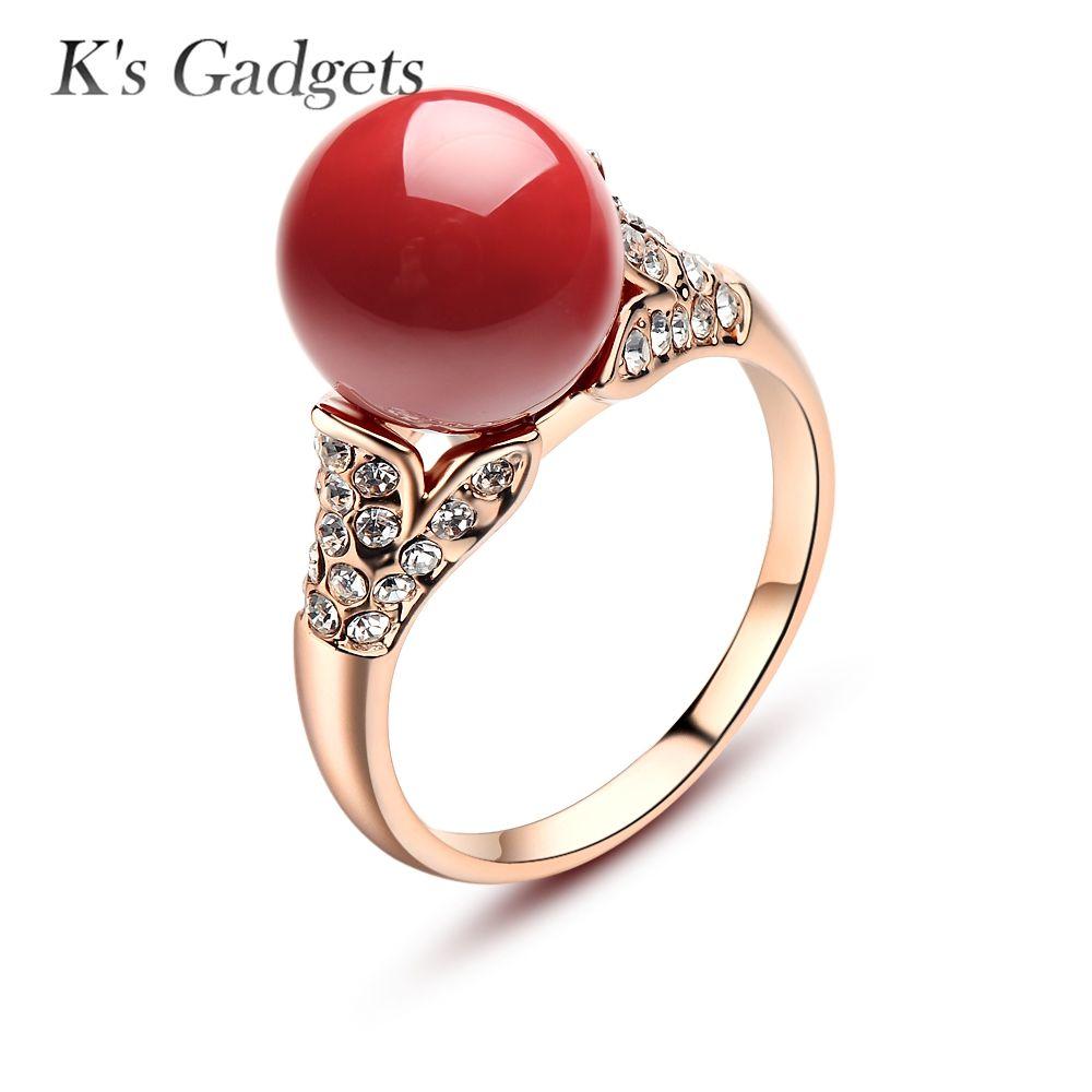 Bijoux naturels or Rose argent plaqué boule de cristal autrichien anneaux de corail artificiel pour les femmes anneau rond Antique en pierre rouge