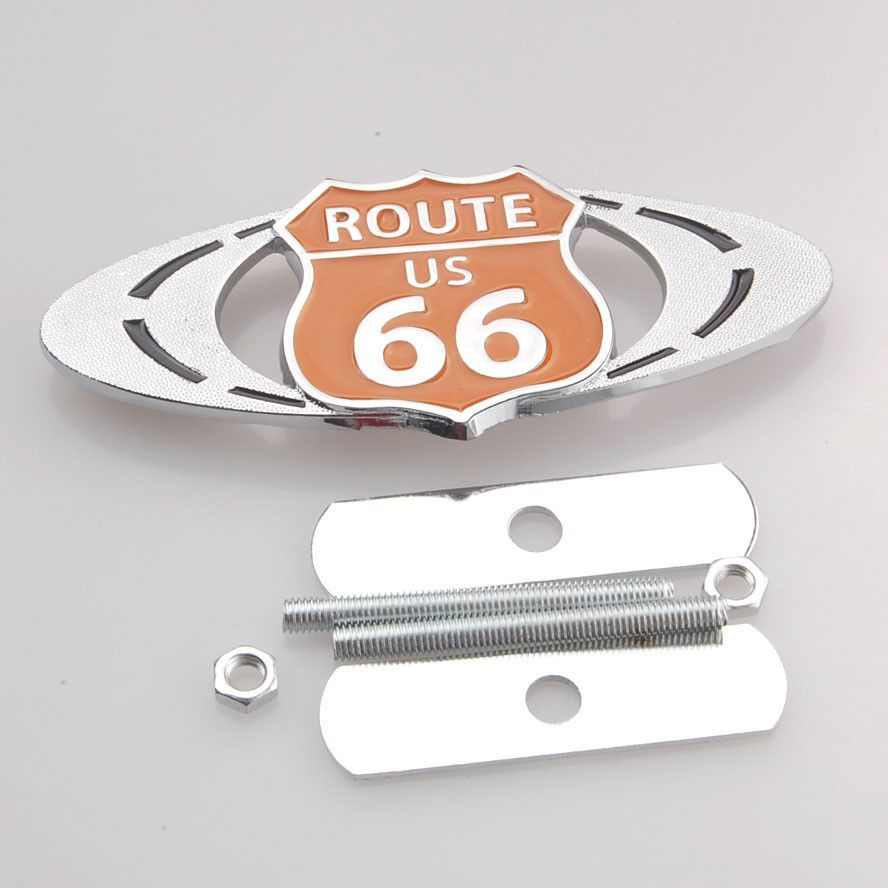BBQ@FUKA 1 set New Auto Metal Route US 66 Grille Grill Badge Emblem Tuning Racing Car for toyota mercedes chevrolet cruze ford