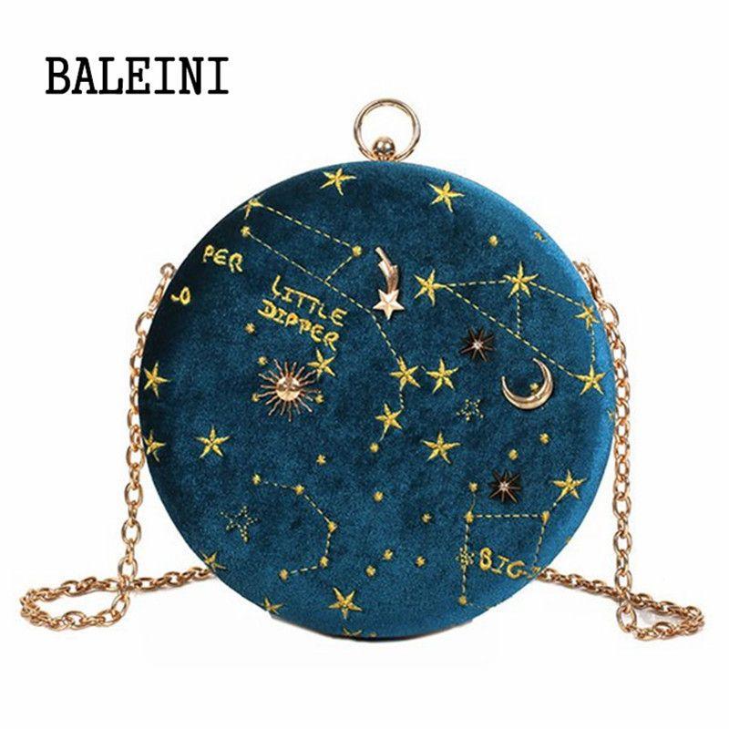 2019Starry sky Circular Fashion Suede Shoulder Bag Chain belt Women's Crossbody Messenger Bags Ladies Purse Female Round Handbag