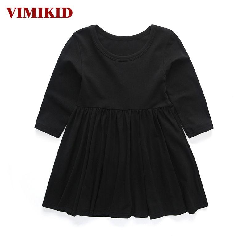 VIMIKID 2017 new girls spring dress party tutu dress children clothing princess dress kids toddler girl clothing solid color k1