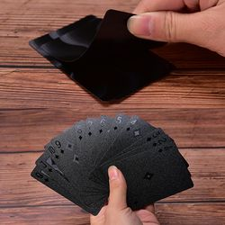 Waterproof Black Playing Cards Plastic Cards Collection Black Diamond Poker Cards Creative Gift Standard Playing Cards
