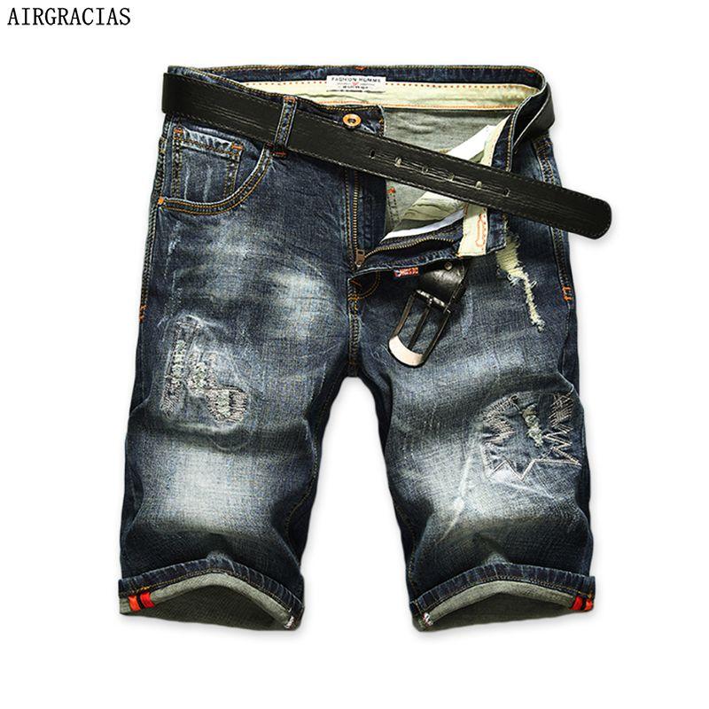AIRGRACIAS Shorts Hommes Déchiré Jeans Courts Droite Rétro Shorts Jean Bermudes Homme Denim Marque Vêtements Plus La Taille 28-40