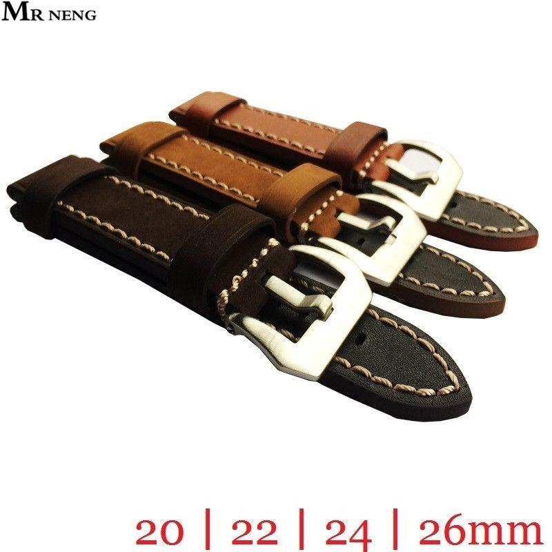 Mr Нэн бренд высокое качество серебро пряжки коричневый загар Цвета ремешок для часов Бретели для нижнего белья и серебряной пряжкой 20 мм 22 м...