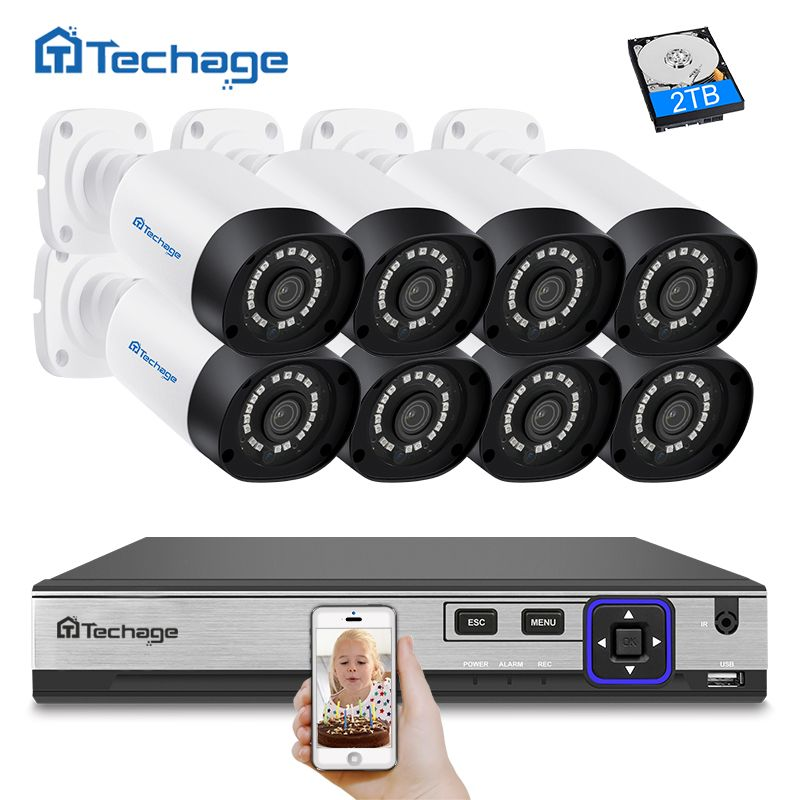 Techage 8CH H.265 4MP CCTV Camera System POE NVR Kit (8) Outdoor Waterproof 4MP IP Camera P2P Video Security Surveillance Kit