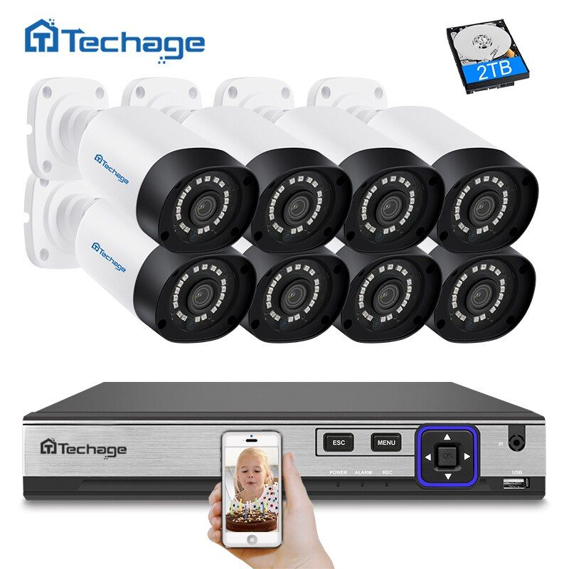 Techage 8CH H.265 4MP CCTV Kamera System POE NVR Kit (8) im freien Wasserdichte 4MP IP Kamera P2P Video Sicherheit Überwachung Kit