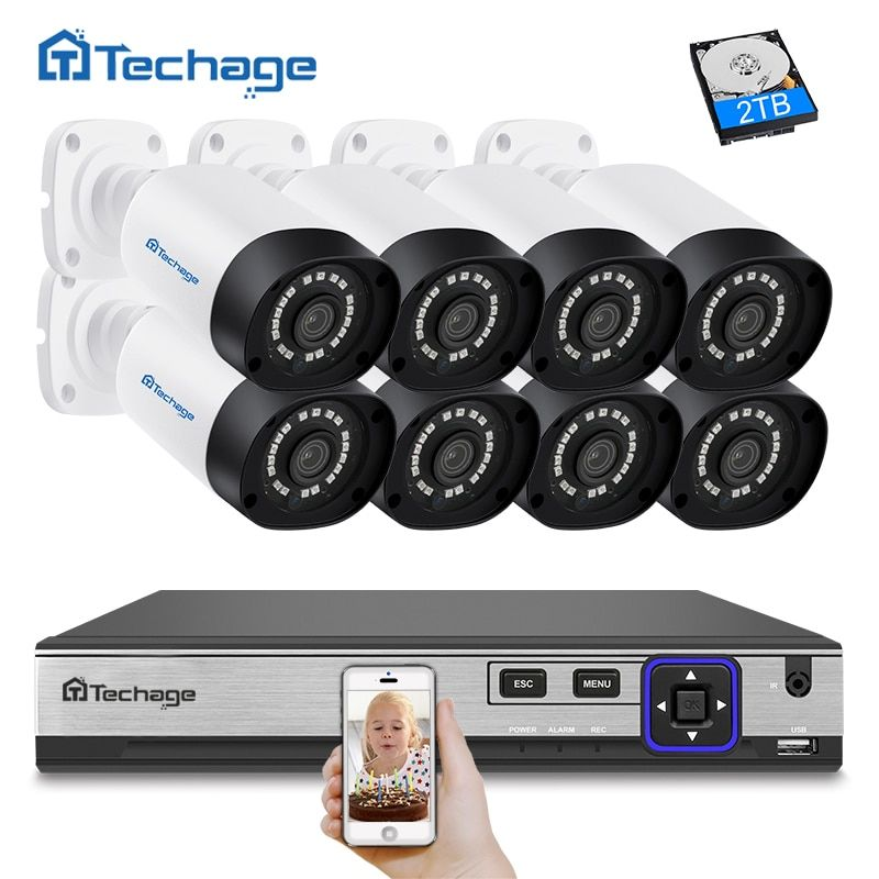 Techage H.265 8CH 4MP CCTV Kamera System POE NVR Kit Im Freien Wasserdichte 4MP POE IP Kamera P2P Video Sicherheit Überwachung kit