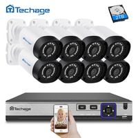 Techage H.265 8CH 4MP sistema de cámara CCTV NVR POE Kit impermeable al aire libre 4MP cámara IP POE P2P seguridad Video vigilancia kit de