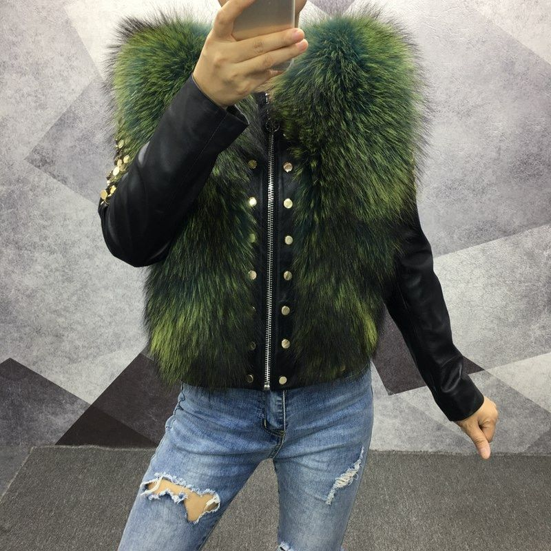 2018 women spring genuine sheepskin leather jacket with fur short coat autumn fashion real leather fox fur outwear long sleeve