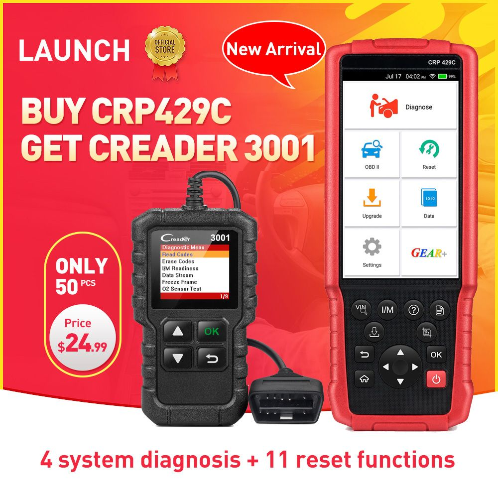 LAUNCH X431 CRP429C Auto Diagnostic tool for Engine/ABS/SRS/AT+11Service CRP 429C OBD2 code reader CR3001 as gift PK CRP129