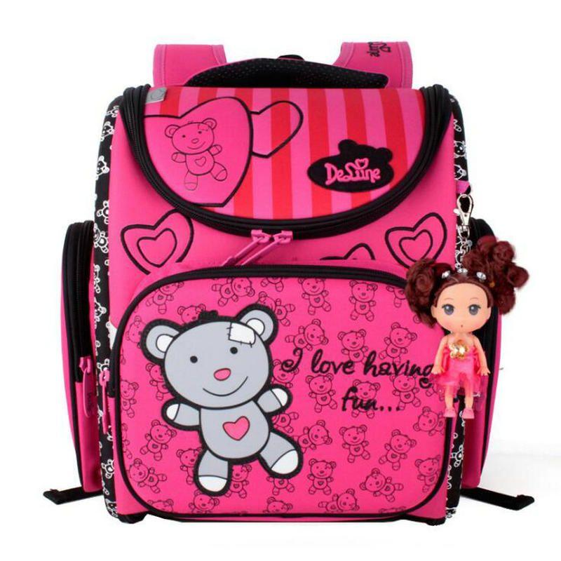 2017 детская Школьные ранцы Водонепроницаемый складной ортопедические рюкзак школьный портфель Mochila Infantil с куклы украшения