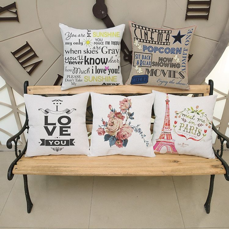 2016 Cotton Linen Cushions Covers Car Seat Decorative Throw Pillows Cases Office Chair Seat Sofa Pillowcases