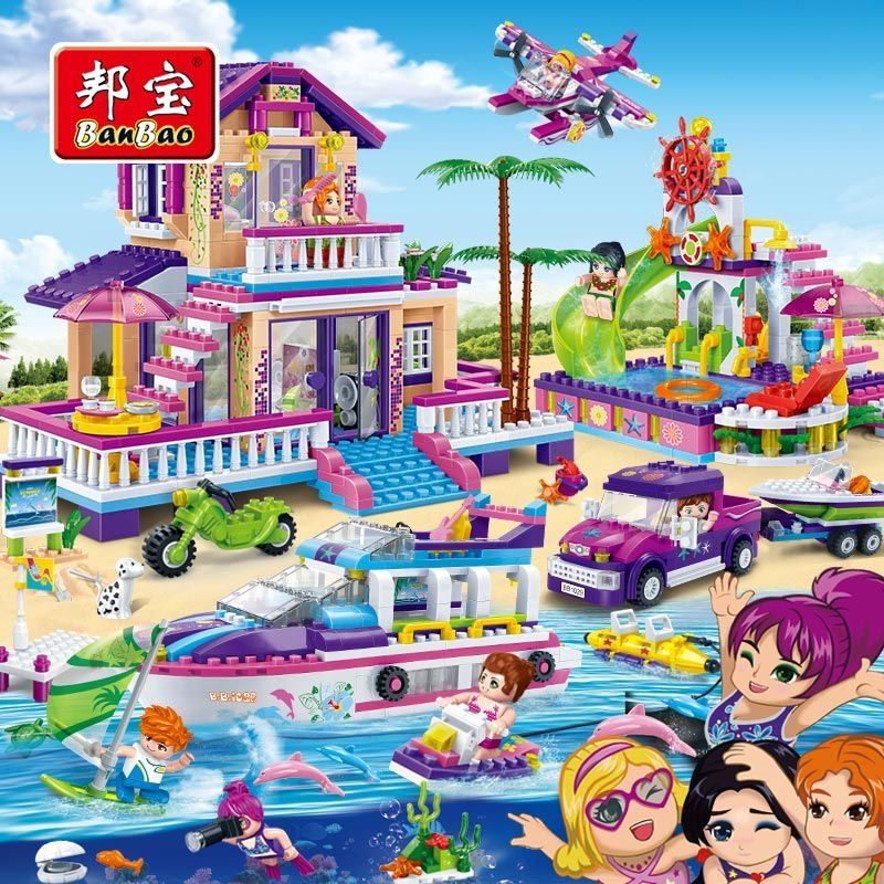 BanBao Girls Kids Educational Toys Kids Gifts City Friends House Speedboat Playground Stickers Compatible with Legoe