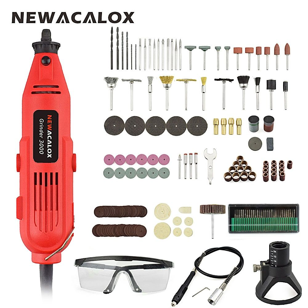 NEWACALOX EU/US 220V 260W Mini Electric Drill Variable Speed Grinder Grinding Machine Engraving Accessories Dremel <font><b>Rotary</b></font> Tools