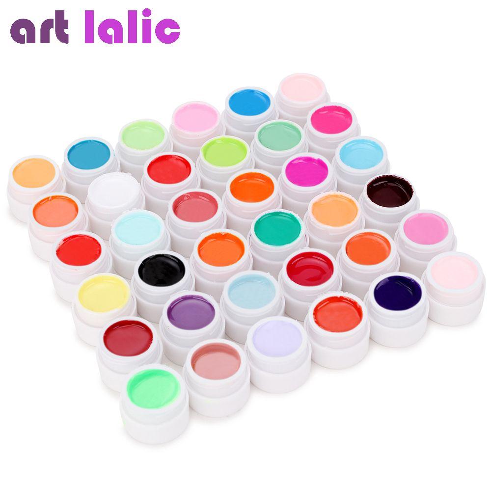 36 couleurs UV Gel Ensemble Couleures pures Décor Pour Nail Art Conseils Extension Manucure Outils DE BRICOLAGE Décorations