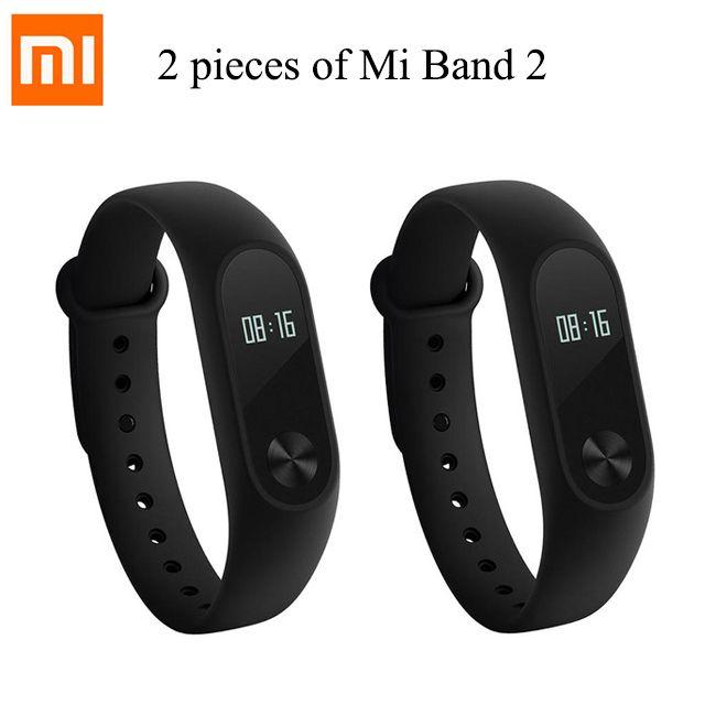 2 Pieces Original Xiaomi Mi Band 2 Smart Fitness Bracelet Mi Band 2 Wristband Heart Rate Monitor IP67 Waterproof Sleep Monitor