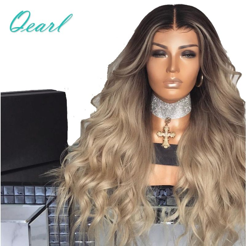 Super Density Ombre Blonde Lace Front Human Hair Wigs 13*4 Middle Part Remy Hair PrePlucked Pretty Wave Wig with Baby Hair Qearl
