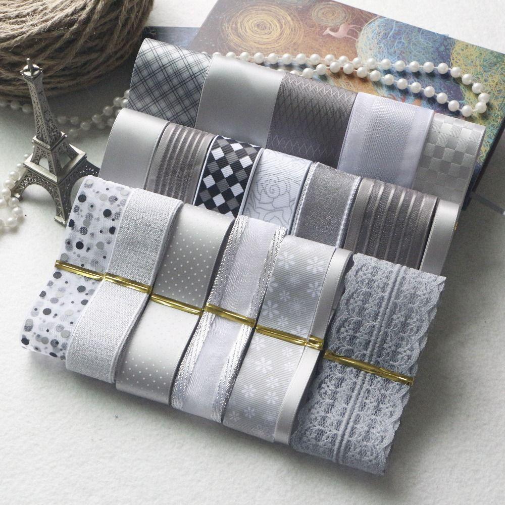 NOUVEAU STYLE! Ensemble de ruban de bricolage --- ensemble de ruban de mélange de couleur gris et argent (total 21 yards)