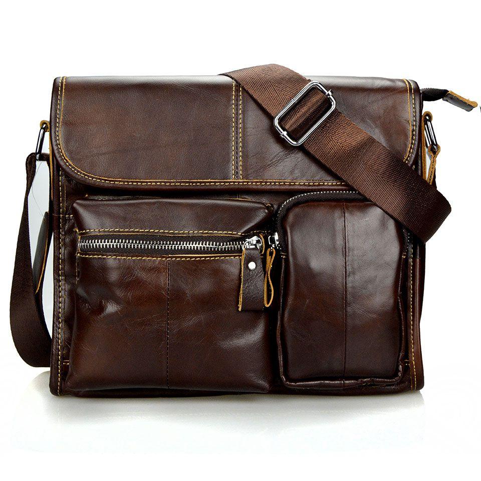 2018 mode huile cire en cuir véritable hommes sac marque Messenger sacs pour hommes de haute qualité Vintage en cuir mâle voyage sacs à main