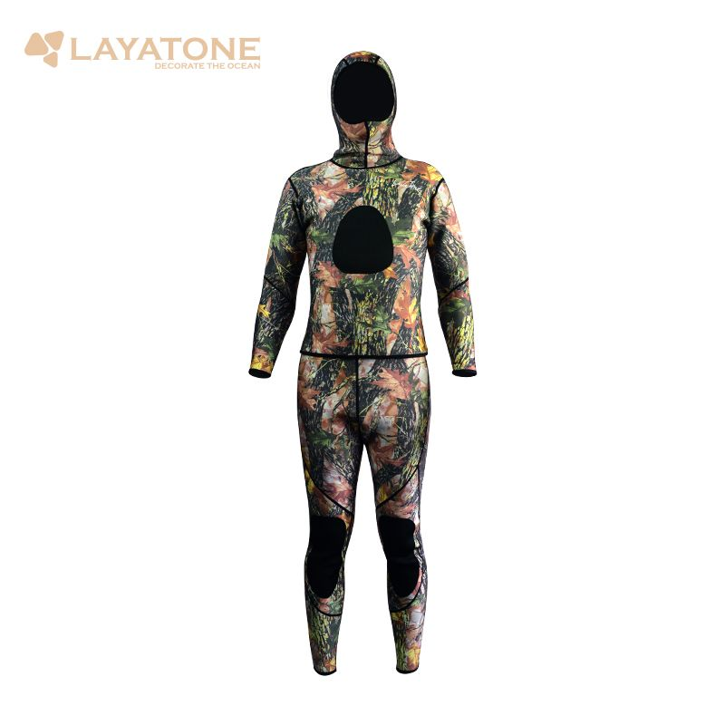 camouflage wetsuit for spearfishing,3mm neoprene two-piece scuba diving wetsuit for men full body WS-01