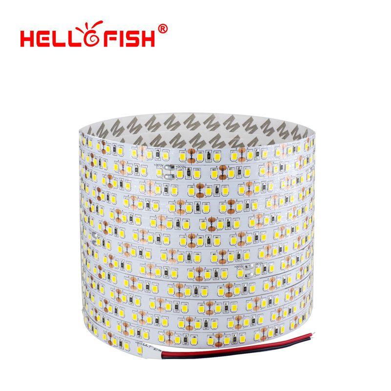 Hello рыбы 5 м двойной слой печатной платы 600 Светодиодные ленты, 2835 SMD 12 В гибкий светодиодный Клейкие ленты, белый/теплый белый/синий/зеленый/к...