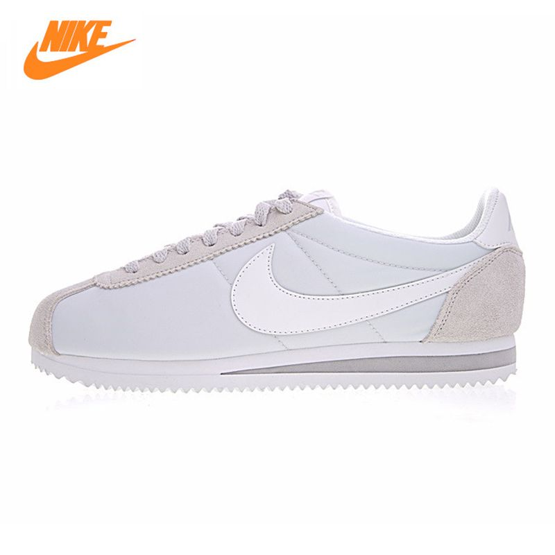Nike CLASSIC CORTEZ NYLON Women's Running Shoes,Outdoor Sneakers Shoes, Light Gray, Breathable Lightweight 749864 010