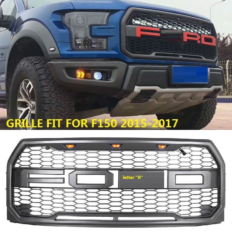 CITYCARAUTO front F-150 Racing grill grille ABS front trim Replacement Grill Raptor Style mask with led fit for F150 2015-2017