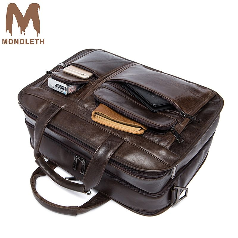 MONOLETH 2018 new retro briefcase business bag shoulder Messenger bag men Genuine Leather Men's Bags Multifunctional design 8893
