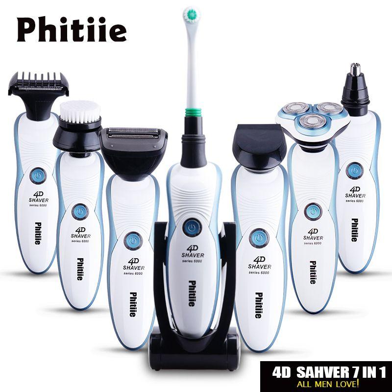 7 в 1 3D Для мужчин плавающей поворотный электробритвы триммер для бороды Перезаряжаемые Бритвы для Для мужчин станок для бритья Barbeador зубной ...