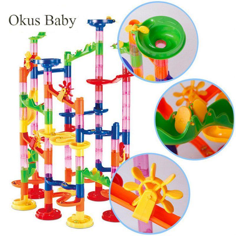 29/80/105pcs Set DIY Construction Marble Race Run Maze Track Building Blocks Kids Ball Roll Toys Christmas Gift