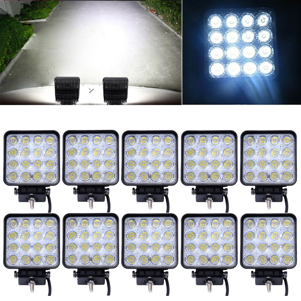 10PCS/Lot 48W Car Spot Worklight Lamp Truck Motorcycle Off Road Fog Lamp Tractor Car LED Headlight driving light Square/Round