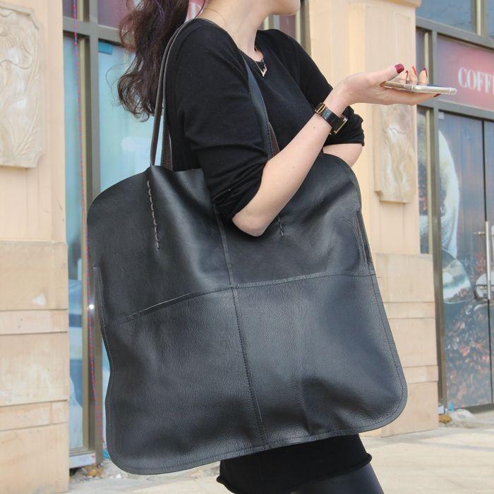 Femmes de cuir véritable grand sac d'épaule occasionnel de grande capacité vache fourre-tout sac à main de haute qualité solide couleur noir shopping sac