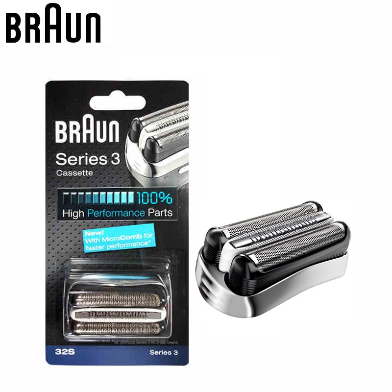 Braun 32S Series 3 Shaver Foil and Cutter Head Replacement Cassette with Microcomb(320 330 340 350CC 360 370 380 390CC 395cc)