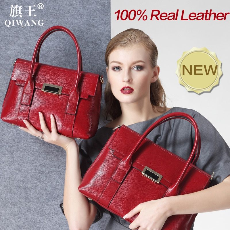 Qiwang Large Size Handbag Retro Bag Real Leather Luxury Brand Tote Bag Flap Closure Fashion Metal Lock Handbag Purse Women