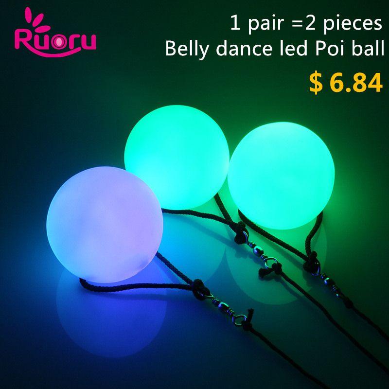 Ruoru 2 unidades = 1 par de danza del vientre bolas resplandor LED POI lanzado balls para la mano de la danza del vientre apoyos del funcionamiento de la etapa accesorios