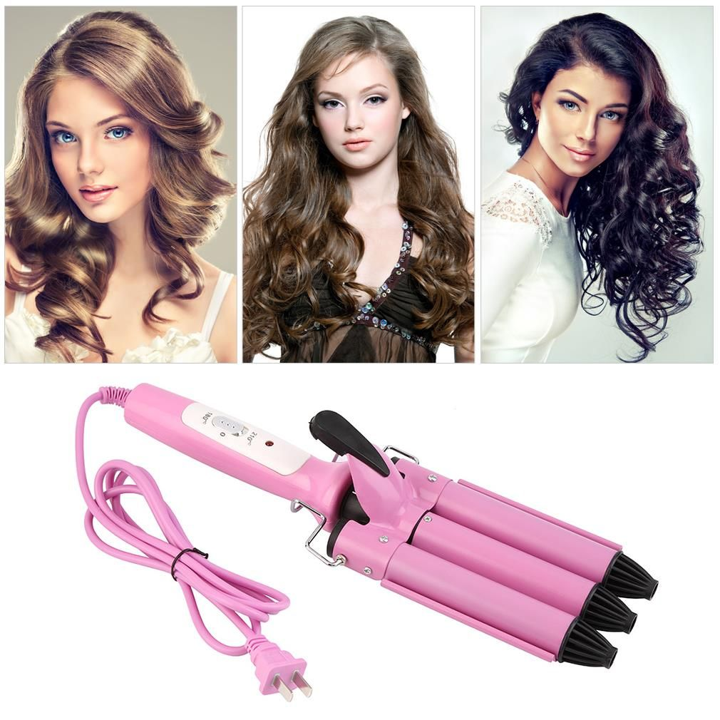 Professional Three Barrel Triple Barrel Ceramic Hair Curling Iron Deep Waver Curler Tool all types textures hair Hot Sale 2017