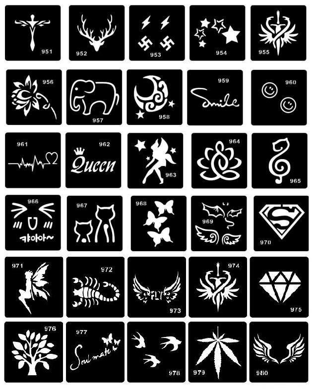 30pcs/set Professional Tattoo Stencils for Henna Paste Reusable Template Stencils