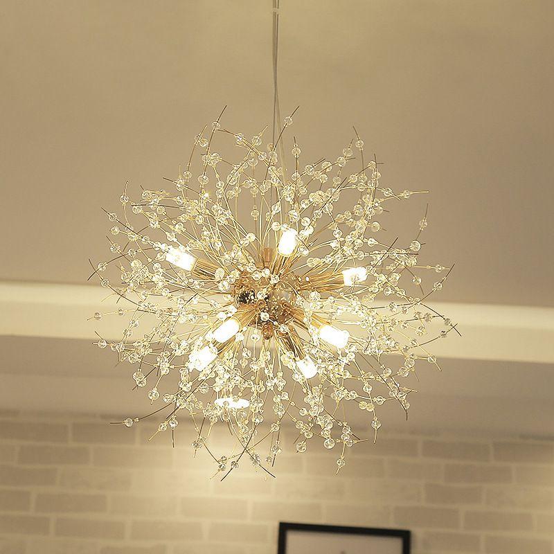 LukLoy Dandelion Crystal Chandelier Loft Bedroom Firework Hanging Lamp Hanglamp Modern Pendant Ceiling Lights Lighting Fixture