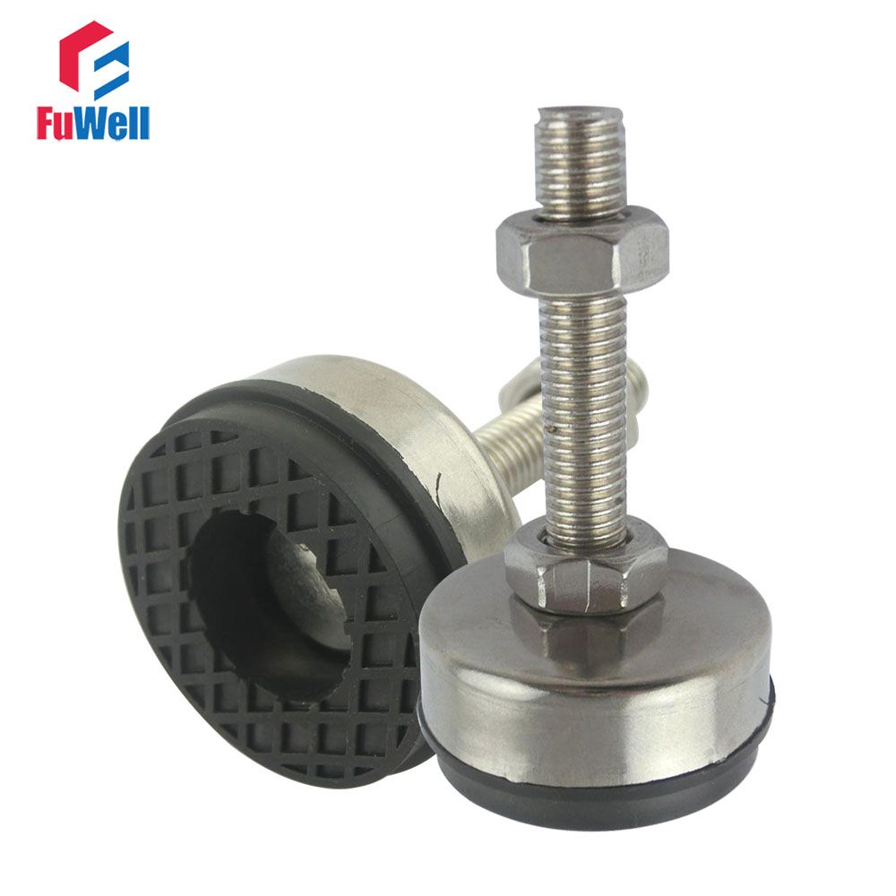 2pcs M16/M18/M20 Thread Adjustable Foot Cups 85mm Diameter 304Stainless Non-skid Base 150mm Length Articulated Leveling Foot