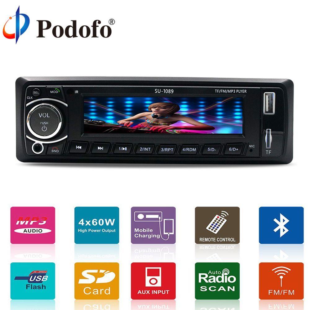 Podofo 4'' Universal In-Dash Single 1 Din Car Stereo Player 12V Car Audio Digital LCD Screen Stereo Bluetooth USB/TF/MP3/WMA